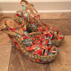 Poetic Licence London Colorful Floral Wedges Boho